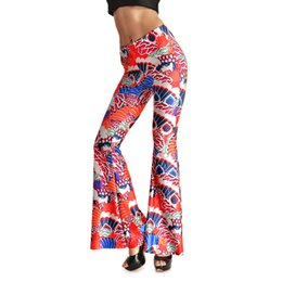 Wholesale Totem Pants - 2016 New Womens Fashion Red Dragon Totem Printed Flare Pants Women Casual Digital Printing Pattern Skinny Long Pants Trousers