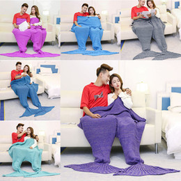 Wholesale Quilt Double - 150*180cm Double Mermaid Blanket Mermaid Tail Knitted Blankets Sofa Quilt Rug Sleeping Sack Knit blanket 6 Color Free shipping WX9-145