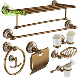 Wholesale Ceramic Space - Wholesale- Antique Brushed Bathroom Accessories Luxury Ceramic Space aluminum Bathroom Hardware Sets Wall Mounted Bronze Bathroom Products