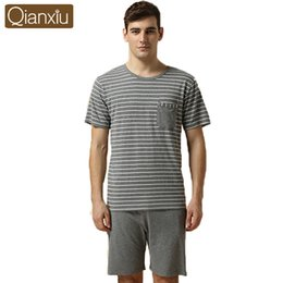 Wholesale Animal Pajamas Onesies - Wholesale-Summer Casual Modal Pajamas for Men Stripe Short-sleeve Pajamas to sleepwomen&men Plus Size Pajama Set 1pcsFree Shipping