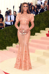 Wholesale Long Blue Bow Dress - Met Gala 2016 Red Carpet Fashion 2016 Red Carpet Long Sleeve Mermaid Beaded Crystal Celebrity Dresses Sexy Pageant Dresses