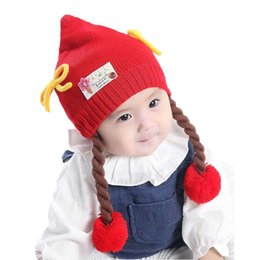 Wholesale Baby Girl Hats Wig - Wholesale Baby Girls Beanies Long Braid Wigs pom pom Hats Kids Children Winter Warm Solid Color Knitted Double-deck Caps Skullcap MZ4082