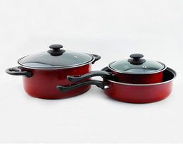 Wholesale Wok Stainless Steel - Stainless steel Three-piece Pans Red Wok Stockpot Non-stick Pans Household Restaurant Cookers with Lid with Handles