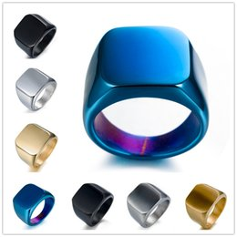 Wholesale Solid Gold Man Ring - 2018 NEW Mens Rings Titanium Solid Polished Stainless Steel Ring Simple Design Men 7 Color US 7-14 Stainless Steel Rings