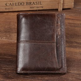 Wholesale Men Checkbook - 2016 New vintage genuine Oil wax leather Men's slim bifold wallet Card holder