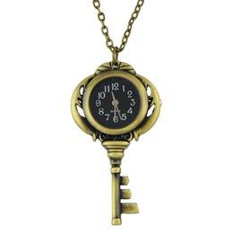 Wholesale Antique Tags - Unique Fashion Vintage Jewelry Wholsale Black Antique Gold Color Key Pocket Watch & Pendant Necklace With Chain