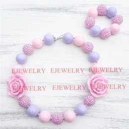 Wholesale Rhinestone Resin Heart Pendants - 20mm pink purple acrylic beads pink flower&rhinestone beads chunky Bubblegum kids necklace&bracelet set CB810