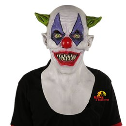 Wholesale Evil Toys - X -Merry Toy Creepy Evil Scary Halloween Clown Mask Rubber Latex Green Horned Clown Masken Free Shipping