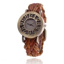 Senhoras assistir preço mais baixo on-line-Velocidade vender passar estilo quente Maré orgulhosa restaurar antigas formas tecidas couro oco-out encabeçamento relógio pulseira senhoras assistir a um preço baixo todo