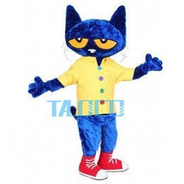 Wholesale Adult Mascot Cat - 2016 Pete the Cat Adult Size Halloween Cartoon Mascot Costume Fancy Dress