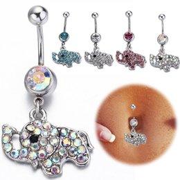 Wholesale Elephant Body Jewelry - 2016 Fashion Body Piercing Ombligo 316L Steel Rhinestone Elephant Dangle Piercing Navel Belly Button Rings body piercing jewelry