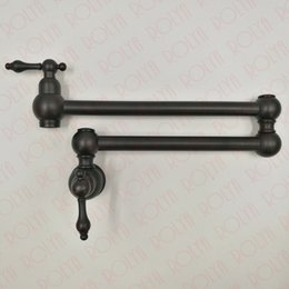 Wholesale Brass Traditional Sink - Rolya Solid Brass ORB Kitchen Faucet Sink Mixer Taps Oil Rubbed Bronze Pot Filler Wall Mounted