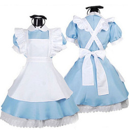 Wholesale Alice Costume Xl - Wholesale-Free shippping Anime Alice In Wonderland Lolita Dress Maid Cosplay costumes Fantasia Carnival Halloween Costume For girl(6--12)