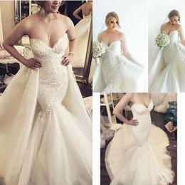 vestidos de noiva trem de pétala Desconto Glamorous Sereia Destacável Vestidos de Casamento 2016 Querida Apliques Pétala Trem Tribunal Árabe Mais Saias Vestidos de Noiva Plus Size Personalizado