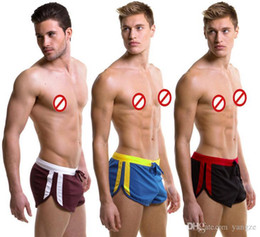 Wholesale Cotton Boxer Pouch - Hot Sexy Men's Casual Shorts Household Sports Shorts with G-string Jocks Straps Inside Pouch Gym Trunks Mesh Quick-Dry Boxers M L XL 7063