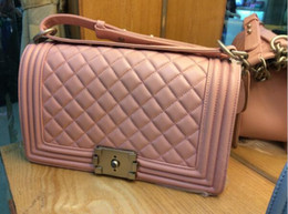 Wholesale Quilted Leather Handbag Black - Top Quality Lady's Quilted boy flap Import Sheep  caviar Leather Handbag Vintage quilted Chain Messenger Shoulder Bag 2016 Free Shipping 195