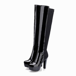 8e296ac9edd Free shipping ladies patent PU stretch fabric thick platform high heel  round toe pure color zipper ladies fashion cheap long boots 215-6-1