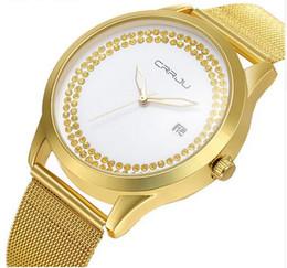Wholesale Minimalist Designs - Free shipping Fashion Design CRRJU Luxury golden watch women watches casual Minimalist Wristwatches Stainless steel Women's dress Watch