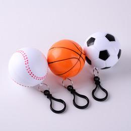 Wholesale Person Ball - Baseball Football Raincoat Plastic Ball Key Chain Disposable Portable Raincoats Rain Covers Travel Tour Trip Rain Coat XL-G316