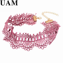 Wholesale Vintage Crocheted Lace Collar - Wholesale- UAM Crochet Black Pink Lace Choker Necklace Personality Women Collar Jewelry Vintage Collares Necklace for Party Gift