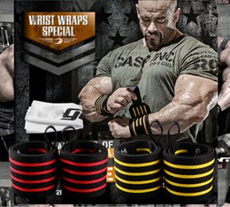 Wholesale Barbells Weights - Wholesale-1 pcs 50*8CM Sport Weightlifting Wristband Gym Fitness Dumbbell Barbell Protection Hand Band Weight Lifting Support Wrist Wrap
