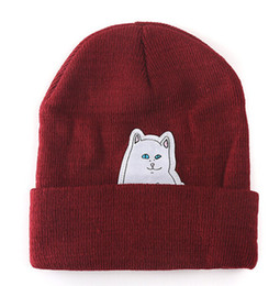 Wollkopfhüte online-Mode unisex Outdoor Beanie Streifen Hip Hop stricken Hut Korean trendy Wollmütze Cap Kopfbedeckungen Kopfschmuck Kopf wärmer
