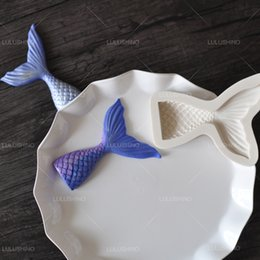 Wholesale Silicone Cake Fish - Wholesale- N027 quality sugar dry mould merlons small fish tail silicon fondant ocean cake mold