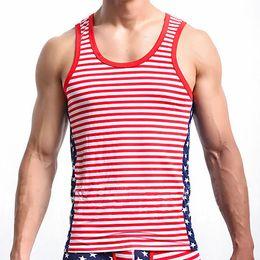 Hombres de alta calidad Hiphop Tank Tops de la manera de la bandera americana Chaleco impreso Mens Underhirt Hombres Bodybuilding Gym Tank Top sin mangas desde fabricantes