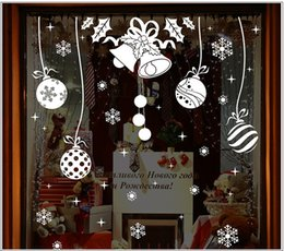 Wholesale Large Decorative Bells - 3D Snowflake Bells Wall Sticker DIY Home Decor Snow Town Christmas Decorations Window Glass Decorative New Year Removable Wall Sticker