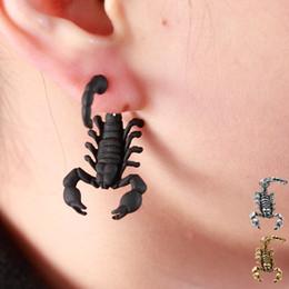Wholesale Scorpion Stud Earrings - New Fashion Punk Black Gold Silver bizarre Animal Scorpion Stud Earrings For Women brincos Jewelry B494