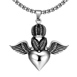 Wholesale Roll Slide - Black Exaggerate Hip Hop Rock & Roll Style Necklace Pendant Two-Heart Shape Pendant Underneath Crown With Wings of the Demon Easter Gift