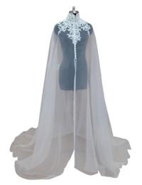 Wholesale Long Bridal Dress Jacket - Cheap Organza Applique Bridal Wraps Jackets with High Neck 2018 White Bridal Wraps Sheer Newest Long Wedding Capes Bolero For Wedding Dress