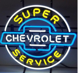 Wholesale chevrolet neon signs - New CHEVROLET SERVICE SUPER Light Glass Neon Sign Light Beer Bar Pub Arts Crafts Gifts Lighting 22""
