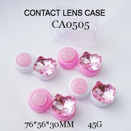 Wholesale Colorful Contacts Wholesale - FREE SHIPPING! CA0505 big KT head with bling bling diamond DECO colorful contact lens case, PP box