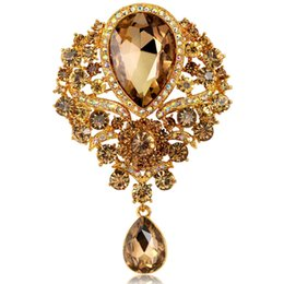 Wholesale Diamante Wedding Bouquets - 2016 Fine Rhinestone Brooches bouquet Jewellery Glass Diamante Wedding Brooch Pin Large Flower Bouquet Gift Cheap