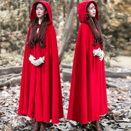 Wholesale Hooded Womens Trench Coat - Vintage Womens Woolen Cashmere Full Length Hooded Cape Trench Coat Cloak Long 5Colors Maxi Halloween Cosplay
