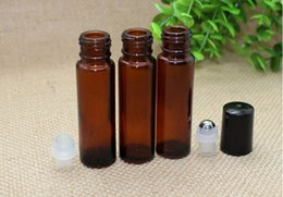 Wholesale Empty Glass Aromatherapy Bottles - 300pcs lot 10ml Empty Roll on Amber Glass Bottles [STAINLESS STEEL ROLLER] Refillable Amber Roll On for Aromatherapy,Fragrance Essentia