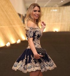 Wholesale White Bling Cocktail Dresses - 2017 Lovely Navy Little Cocktail Dresses Off The Shoulder Ball Gown Lace Applique Bling Homecoming Dress Short Prom Party Gowns
