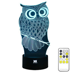 Wholesale Room Mood Lighting - OWL 3D Night Light RGB Changeable Mood Lamp LED Light DC 5V USB Decorative Table Lamp Get a free remote control