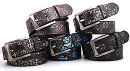 Wholesale Boys Cowboy Belt - 2016 Cowboy 2pcs Lot luxury Letter belt genuine smooth word deduction leisure wild women boys girls students Belt Female flowers Belt Buckle
