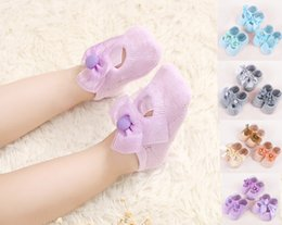 Wholesale First Silicone - Cute First Walkers Socks Cotton Baby Socks Silicone Anti-slip Socks for Kids Girl Children with Bow Candy Colors