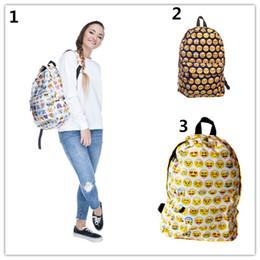 Wholesale Schoolbag Animals - EMOJI backpack 3styles face expression pattern print backpack bag Expression Cartoon Schoolbag sport mochila