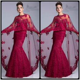 Wholesale Maternity Capes - 2016 New Arrival Burgundy Lace Floor Length Mermaid Sweetheart Luxury Evening Dresses Prom Dresses with Cape
