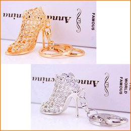 Wholesale Wholesale Trendy Heels - High Heel Hollow Shoes Keychains Rhinestone Car Key Rings, Women Bag Charms Keychains Keyrings Fashion Crystal Key Holder, Lady Gift