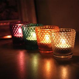 copos de vela de vidro Desconto Castiçal De Vidro De Moda Round Pitted Cup Shape Candle Holders Romantic Wear Resistente Candler Para Decoração De Casa 4 5ty B R