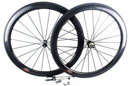 Wholesale Carbon Cycle Race Wheels - 50mm carbon road bicycle wheels Powerway Hub R36 Basalt brake surfce clincher tubular road cycling bike racing wheelset width 25mm