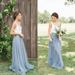 Wholesale Long Dresses Tone - Vintage Two Tone Bridesmaid Dresses Garden Beach Wedding Maid of honor Floor Length Long Formal Gowns Scoop Neck Sleeveless Tulle