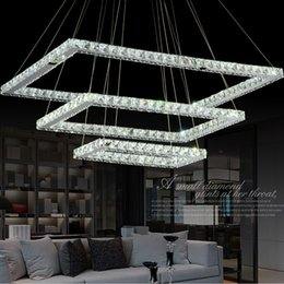 Wholesale Beautiful Modern Bedrooms - New Led K9 Crystal Chandelier Light Fixture Rectangle LED Pendant lamp With Beautiful K9 Crystal Guaranteed 100% Light Fixture AC110V-220V