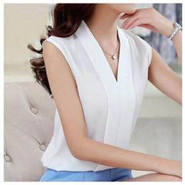 Wholesale Low Cut V Neck Tops - 2017 Women V-neck summer blouses low cut sleeveless shirts Blusas Femininas European casual tops solid tee
