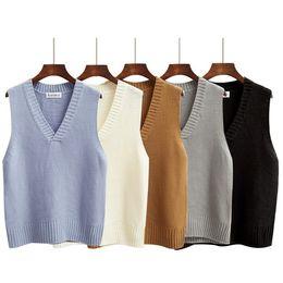 Wholesale candies vest - harajuku pullover women 2017 spring new korean style women sweaters retro pull candy colored knitting sweater women sweater vest